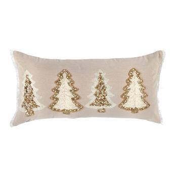 Embellished Christmas Trees Beaded Oblong Throw Pillow view 1