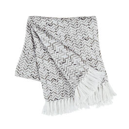 The Grainhouse™ Gray Herringbone Woven Cotton Throw with Fringe view 1