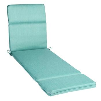 Solid Blue Woven Indoor/Outdoor Hinged Chaise Chair Pad