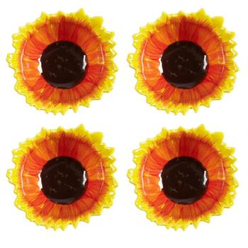 Red/Yellow/Brown Sunflower Ceramic Bowls, Set of 4