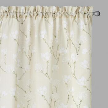 Perfect Window Tan/White Magnolia Window Curtains, Set of 2