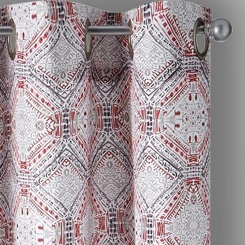 Coral Crawford Lotan Grommet Window Curtains, Set of 2