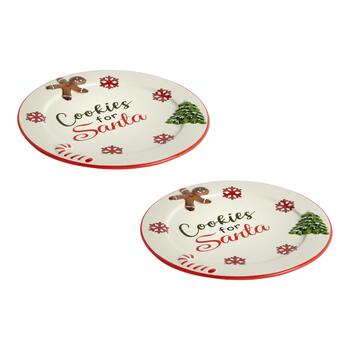 """Cookies for Santa"" Dinner Plates, Set of 2"
