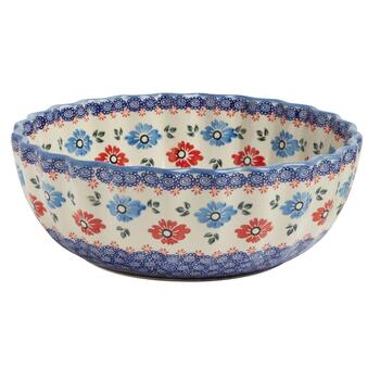 Polish Pottery Blue/Red Floral Large Fluted Bowl