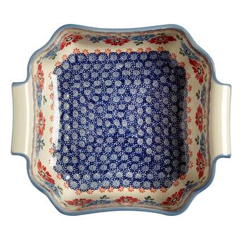 Polish Pottery Blue/Red Floral Square Serving Bowl view 2