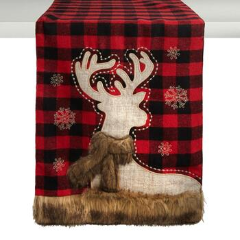 "72"" Red Plaid Reindeer Embellished Table Runner"