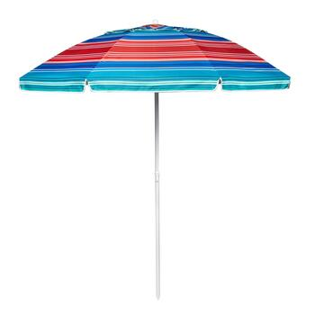 7' Blue/Green/Red/Orange Stripe Beach Umbrella