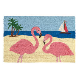 Flamingo Couple Coir Door Mat view 1