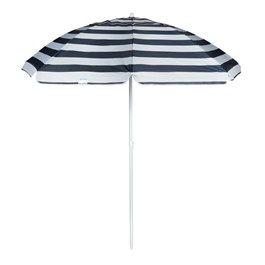 7' Blue/White Striped Beach Umbrella view 1
