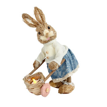 "13.5"" Girl Bunny with Wheelbarrow Flameless Candle Holder view 1"