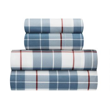 Red/Blue Plaid Warm Soft Spun Sheet Set