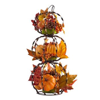 "16"" Twisted Black Metal Pumpkin Floral Decor"