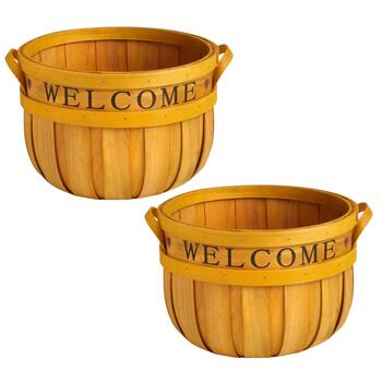 """Welcome"" Stencil Bushel Baskets, Set of 2"