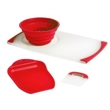 Dexas® Red Over-the-Sink Strainer Board Set, 3-Piece
