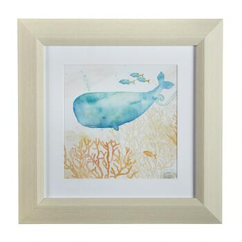 "12"" Watercolor Whale Framed Wall Art"