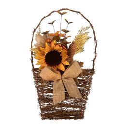 "20"" Sunflower and Pinecones Twig Basket Wall Decor"