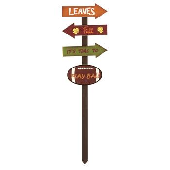 "36"" ""It's Time to Play Ball"" Fall Wood Yard Stake"