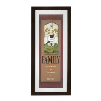 "19""x43"" ""Family Makes a House a Home"" Framed Wall Decor"