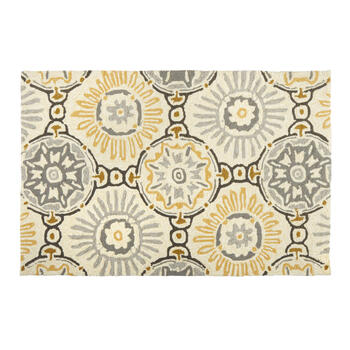 Gray/Yellow Medallions All-Weather Hand-Hooked Rug view 1