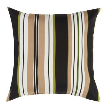 Black/Beige Stripe Indoor/Outdoor Square Throw Pillow