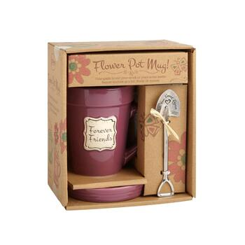"14-Oz. ""Forever Friends"" Flower Pot Mug Gift Set, 3-Piece"