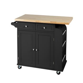 "34"" Cream 2-Door/2-Drawer Rolling Kitchen Island"