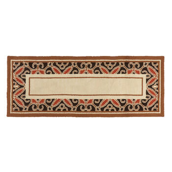 Black/Red/Brown Border All-Weather Hand-Hooked Rug view 3