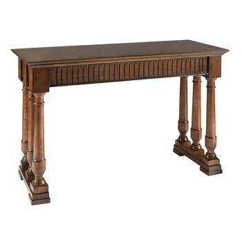 Triple Pillar Walnut Console Table