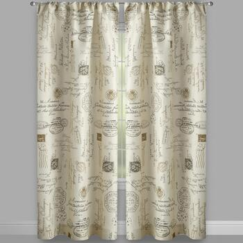 Carte Postal Rod Pocket Window Curtains, Set of 2 view 2