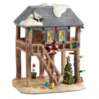 "7.25"" Christmas Beach House Lighted Porcelain Decor"