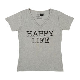 """Happy Life"" Women's Gray V-Neck T-Shirt view 1"
