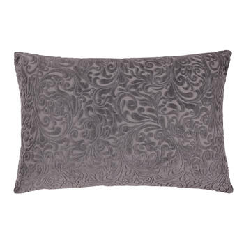 Velvety Scroll Feather-Fill Oblong Throw Pillow view 1