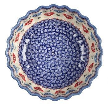 Polish Pottery Blue/Red Floral Large Fluted Bowl view 2