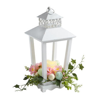 "16"" White Wood Lamppost Flameless Candle Lantern with Egg Bouquet view 1"