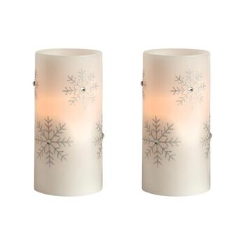 Glittery Snowflake LED Pillar Candles, Set of 2