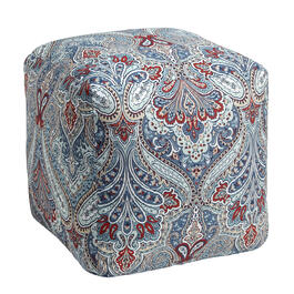 Paisley Blue Indoor/Outdoor Square Ottoman view 1