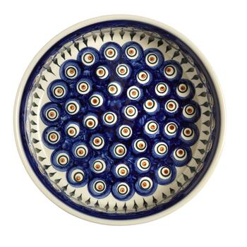 Polish Pottery Peacock Feathers Large Ceramic Fruit Bowl view 2