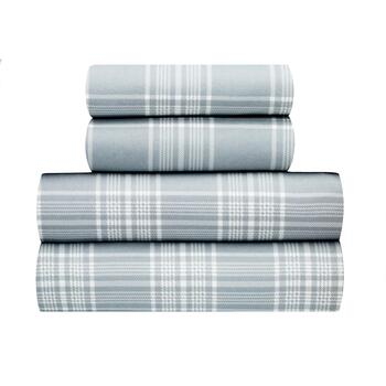 Gray Plaid Warm Soft Spun Sheet Set