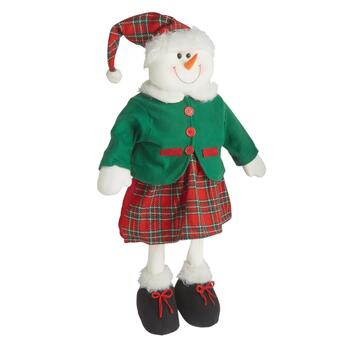 "28"" Standing Plaid Dress Snow Girl"