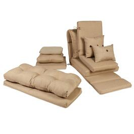 Solid Beige Woven Indoor/Outdoor Chair Pads Collection