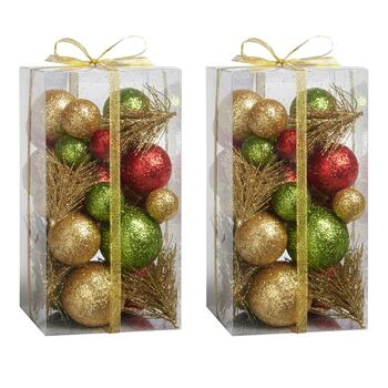 Red/Green/Gold Ball Holiday Bowl Fillers, Set of 2