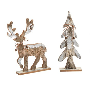 Birch Reindeer and Evergreen Tree Sitters, Set of 2