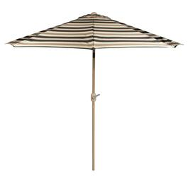 9' Black/Beige Striped Crank/Tilt Market Umbrella