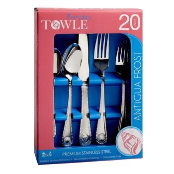 Towle® Antigua Frost Stainless Steel Flatware Set, 20-Piece view 2