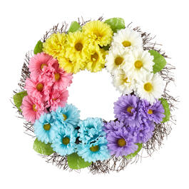 "22"" Pastel Daisies Artificial Flower Wreath view 1"