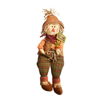 "15"" ""Welcome"" Scarecrow Sitter with Dangling Wood Legs"