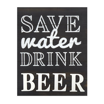 "16""x20"" ""Save Water Drink Beer"" Wood Plank Wall Decor view 1"