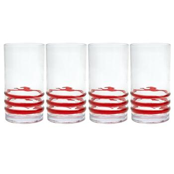 Red Bohemian Rings Acrylic Cooler Glasses, Set of 4