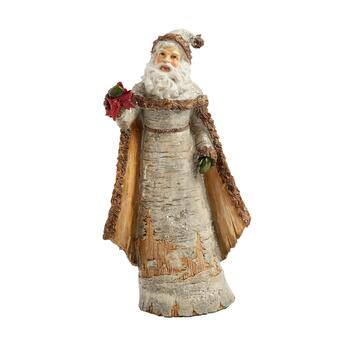 "11.5"" Woodland Santa Figurine with Red Bow"