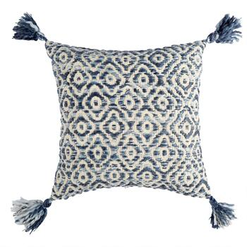The Grainhouse™ Blue Diamond Tassel Square Throw Pillow